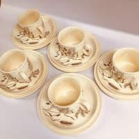 J and  G Meakin | Stoneware | Windswept Cup and Saucer Trios x 5 | 1960s